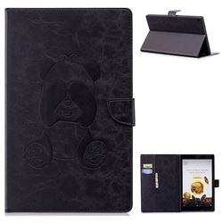 Lovely Panda Embossing 3D Leather Flip Cover for Amazon Fire HD 10(2015) - Black
