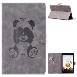 Lovely Panda Embossing 3D Leather Flip Cover for Amazon Fire HD 10(2015) - Gray