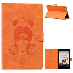 Lovely Panda Embossing 3D Leather Flip Cover for Amazon Fire HD 10(2015) - Orange