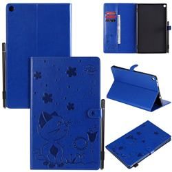 Embossing Bee and Cat Leather Flip Cover for Amazon Fire HD 10(2015) - Blue