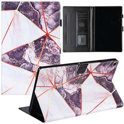 Black and White Stitching Color Marble Leather Flip Cover for Amazon Fire HD 10(2015)