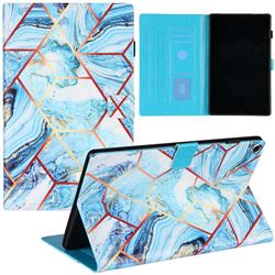 Lake Blue Stitching Color Marble Leather Flip Cover for Amazon Fire HD 10(2015)