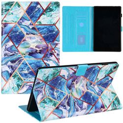 Green and Blue Stitching Color Marble Leather Flip Cover for Amazon Fire HD 10(2015)