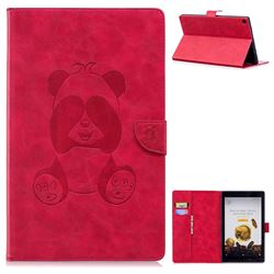 Lovely Panda Embossing 3D Leather Flip Cover for Amazon Fire HD 10 (2017) - Rose