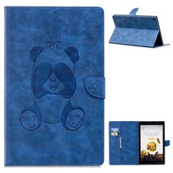 Lovely Panda Embossing 3D Leather Flip Cover for Amazon Fire HD 10 (2017) - Blue