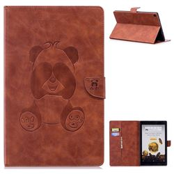 Lovely Panda Embossing 3D Leather Flip Cover for Amazon Fire HD 10 (2017) - Brown