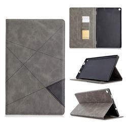 Binfen Color Prismatic Slim Magnetic Sucking Stitching Wallet Flip Cover for Amazon Fire HD 10 (2017) - Gray