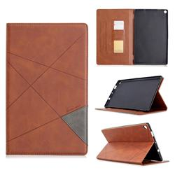 Binfen Color Prismatic Slim Magnetic Sucking Stitching Wallet Flip Cover for Amazon Fire HD 10 (2017) - Brown