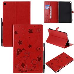 Embossing Bee and Cat Leather Flip Cover for Amazon Fire HD 10 (2017) - Red