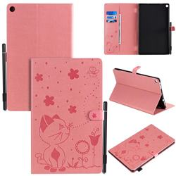 Embossing Bee and Cat Leather Flip Cover for Amazon Fire HD 10 (2017) - Pink