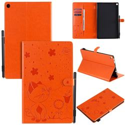 Embossing Bee and Cat Leather Flip Cover for Amazon Fire HD 10 (2017) - Orange
