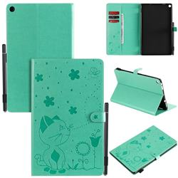 Embossing Bee and Cat Leather Flip Cover for Amazon Fire HD 10 (2017) - Green