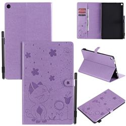 Embossing Bee and Cat Leather Flip Cover for Amazon Fire HD 10 (2017) - Purple