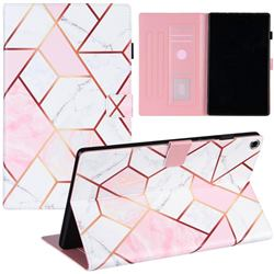 Pink White Stitching Color Marble Leather Flip Cover for Amazon Fire HD 10 (2017)