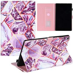 Dream Purple Stitching Color Marble Leather Flip Cover for Amazon Fire HD 10 (2017)