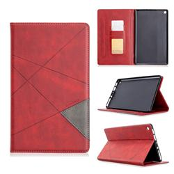 Binfen Color Prismatic Slim Magnetic Sucking Stitching Wallet Flip Cover for Amazon Fire HD 8(2015) - Red