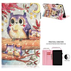 Purple Owl 3D Painted Leather Wallet Tablet Case for Amazon Fire HD 8 (2017)