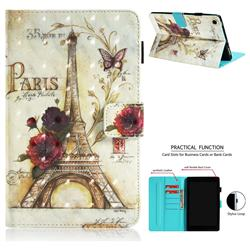Flower Eiffel Tower 3D Painted Leather Wallet Tablet Case for Amazon Fire HD 8 (2017)