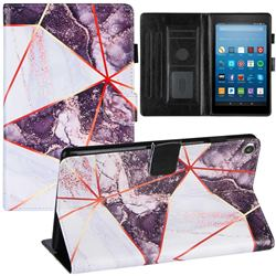 Black and White Stitching Color Marble Leather Flip Cover for Amazon Fire HD 8 (2017)