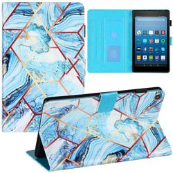 Lake Blue Stitching Color Marble Leather Flip Cover for Amazon Fire HD 8 (2017)