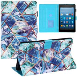Green and Blue Stitching Color Marble Leather Flip Cover for Amazon Fire HD 8 (2017)
