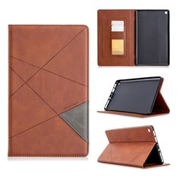 Binfen Color Prismatic Slim Magnetic Sucking Stitching Wallet Flip Cover for Amazon Fire HD 8 (2018) - Brown