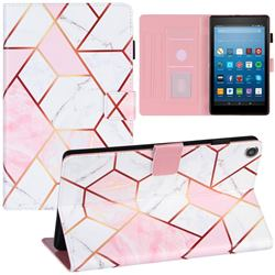 Pink White Stitching Color Marble Leather Flip Cover for Amazon Fire HD 8 (2018)