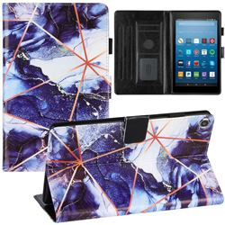 Starry Blue Stitching Color Marble Leather Flip Cover for Amazon Fire HD 8 (2018)