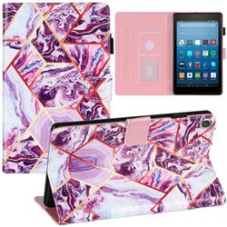 Dream Purple Stitching Color Marble Leather Flip Cover for Amazon Fire HD 8 (2018)