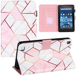 Pink White Stitching Color Marble Leather Flip Cover for Amazon Fire 7(2015)