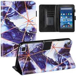 Starry Blue Stitching Color Marble Leather Flip Cover for Amazon Fire 7 (2019)