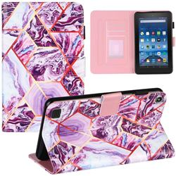 Dream Purple Stitching Color Marble Leather Flip Cover for Amazon Fire 7 (2019)