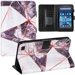 Black and White Stitching Color Marble Leather Flip Cover for Amazon Fire 7 (2019)