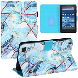 Lake Blue Stitching Color Marble Leather Flip Cover for Amazon Fire 7 (2019)