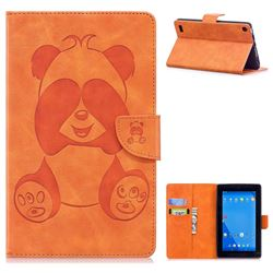 Lovely Panda Embossing 3D Leather Flip Cover Orange