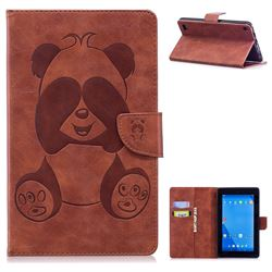 Lovely Panda Embossing 3D Leather Flip Cover Brown