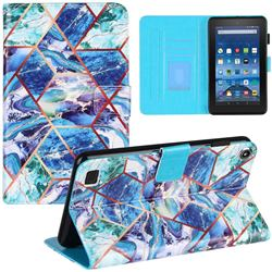 Green and Blue Stitching Color Marble Leather Flip Cover for Amazon Fire 7 (2017)