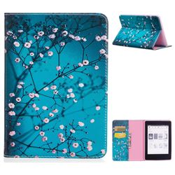 dabcf77830b Blue Plum flower Folio Stand Leather Wallet Case for Amazon Kindle  Paperwhite 1 2 3