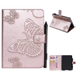 Embossing 3D Butterfly Leather Wallet Case for Amazon Kindle Paperwhite 1 2 3 - Rose Gold