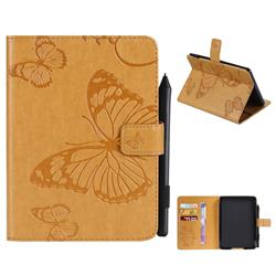 Embossing 3D Butterfly Leather Wallet Case for Amazon Kindle Paperwhite 1 2 3 - Yellow