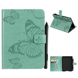 Embossing 3D Butterfly Leather Wallet Case for Amazon Kindle Paperwhite 1 2 3 - Green