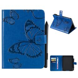Embossing 3D Butterfly Leather Wallet Case for Amazon Kindle Paperwhite 1 2 3 - Blue
