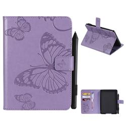 Embossing 3D Butterfly Leather Wallet Case for Amazon Kindle Paperwhite 1 2 3 - Purple