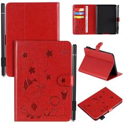 Embossing Bee and Cat Leather Flip Cover for Amazon Kindle Paperwhite 1 2 3 - Red