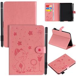 Embossing Bee and Cat Leather Flip Cover for Amazon Kindle Paperwhite 1 2 3 - Pink