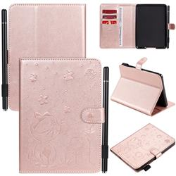 Embossing Bee and Cat Leather Flip Cover for Amazon Kindle Paperwhite 1 2 3 - Rose Gold