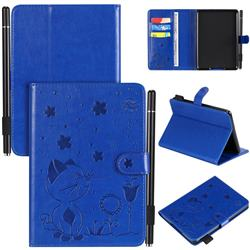Embossing Bee and Cat Leather Flip Cover for Amazon Kindle Paperwhite 1 2 3 - Blue
