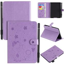 Embossing Bee and Cat Leather Flip Cover for Amazon Kindle Paperwhite 1 2 3 - Purple