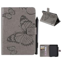 Embossing 3D Butterfly Leather Wallet Case for Amazon Kindle Paperwhite (2018) - Gray