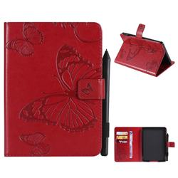 Embossing 3D Butterfly Leather Wallet Case for Amazon Kindle Paperwhite (2018) - Red